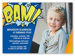 super hero bam 5x7 custom invitation birthday boy invitations