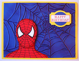 birthday card spiderman spider man thank you card comic spider web