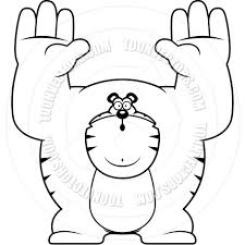 cartoon tiger surrender black and white line art by cory thoman