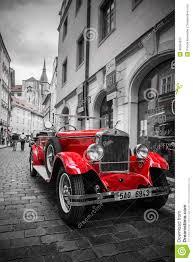 prague car famous historic red car praga in prague street editorial stock