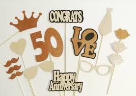 Booth Props 50th Anniversary Party Decorations 15pc set