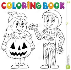 Halloween Costumes Coloring Pages Halloween Coloring Page For Little Kids Royalty Free Stock Photo