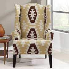 sure fit slipcovers wing chair sure fit stretch kilim wing chair slipcover walmart com