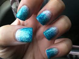 silver and turquoise fade acrylic nails nails pinterest nail