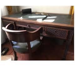 le bureau ancienne bureau ancien sculpté 3 tiroirs et fauteuil bois cuir mont de