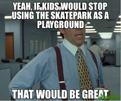 That Would Be Great Meme - yeah if kids would stop using the skatepark as a playground that
