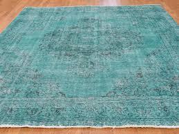 Turquoise Persian Rug 8 U00274 U0027 U0027x10 U00276 U0027 U0027 Overdyed Worn Persian Tabriz Hand Knotted Oriental