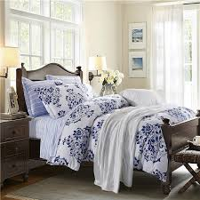 Victorian Bed Set by Navy Blue And White Victorian Pattern Flower Print Abstract Design