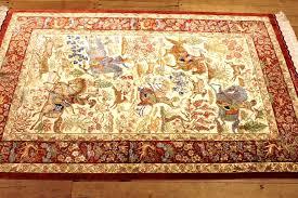 Silk Oriental Rugs Pictorial Hunting Qom Persian Rugs Silk Hunting Qum Carpets 27965