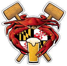 Maryland Flag Vinyl Maryland Crab Feast Crest Sticker Decal Die Cut Vinyl 4 5x4 5