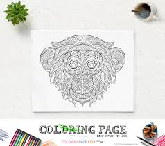 printable coloring page monkey head animal coloring pages