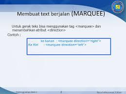 membuat teks berjalan menggunakan html reza sulistyawan s kom pemrograman web 1 1 text yang ditilkan