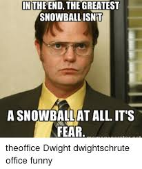 Dwight Schrute Meme - in the end the greatest snowball isnt a snowballat all it s fear