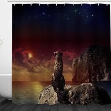 online get cheap creative bath shower curtain aliexpress com 3d leopard keep watch waterproof shower curtain creative door curtain bathroom practical large bath curtain dark