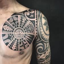 maori sleeve tribal polynesian inspired chest sleeve irish street tattoo