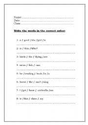 english worksheets write the words in the correct order to make a