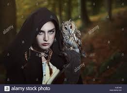 Owl Shoulder - with owl on shoulder stock photo