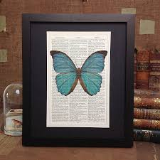 antique paper upcycled butterfly art print by roo abrook