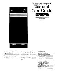 roper trash compactor ku155ov user guide manualsonline com