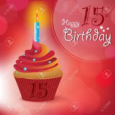 happy 15th birthday greeting invitation message bokeh vector