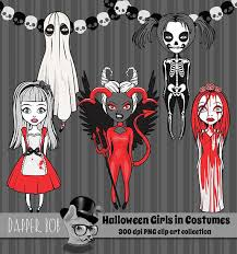halloween clipart cute collection cute halloween girls in costumes party clip art collection