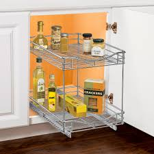 Under Cabinet Shelves by Two Tier Sliding Cabinet Organizer 11 Inch In Pull Out Baskets