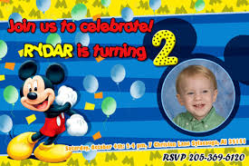Mickey Mouse 1st Birthday Card Mickey Mouse Birthday Invitation Party Minnie Disney Photo Cards