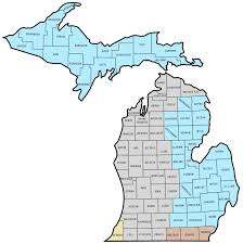 Michigan Area Code Map by Up By Zip Code