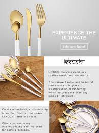 amazon com lekoch 4 piece stainless steel flatware set including
