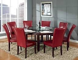 Red Dining Room Table Rectangle Fluffy Area Rug Beneath Red Leather Chairs And 72 Inch