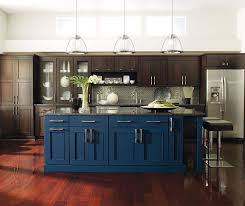 kitchen islands cabinets wood cabinets with a blue kitchen island by dynasty cabinetry