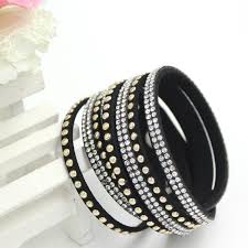 leather rhinestone bracelet images Newest rhinestone bling crystal fashion wrap bracelets slake jpg
