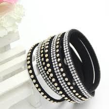 leather rhinestone bracelet images Newest rhinestone bling crystal fashion wrap bracelets slake jpg