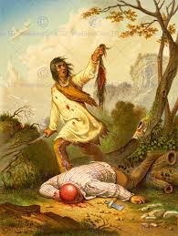 painting draw american indian scalp violence trophy blood