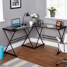 L Shape Table Atrium Metal And Glass L Shaped Computer Desk Multiple Colors