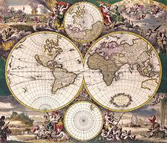 Ancient Map Ancient Map 1690 Nova Totius Terrarum Orbis Tabula