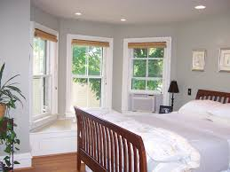 simple window treatments for bay windows with seat and decorating