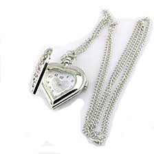 necklace with watch pendant images Hollow heart shaped pocket watch necklace pendant chain silver jpg