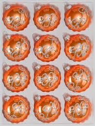 12 tlg glas weihnachtskugeln set in hochglanz orange silberne