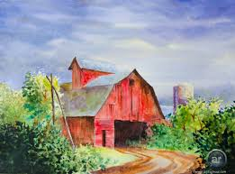a red barn in water color youtube