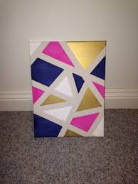 diy canvas art apply painters tape randomly around a canvas and