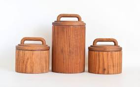 vintage wood kitchen canister set cornwall flour sugar coffee