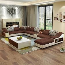 U Shaped Leather Sectional Sofa Living Room Furniture Modern U Shaped Leather Fabric Corner