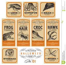 funny vintage halloween apothecary labels set 01 vector stock