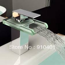 Led Bathroom Faucets 3 Colour Changing Bathroom Faucet Glass Faucet Waterfall Basin
