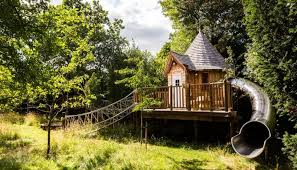 three house blue forest s fairytale treehouse complete with its own slide
