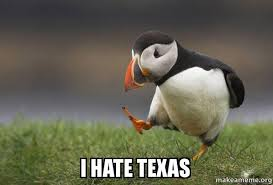 Hate Meme - i hate texas unpopular opinion puffin make a meme