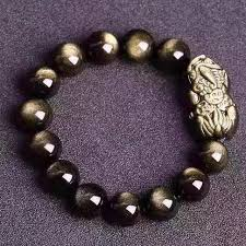 fashion elastic bracelet images Natural gold obsidian beads obsidian carved coin pixiu lucky jpg