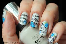 notd music notes and blue roses manicure polished polyglot