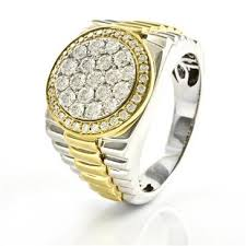 s rings 1 47ct tdw men s diamond rolex ring in 14kt gold f vs2